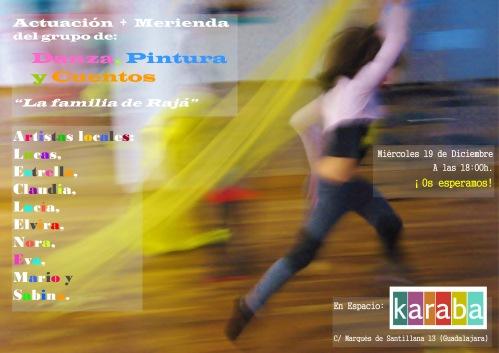 Cartel de Actuación de Danza, Pintura y Cuentos de Karaba