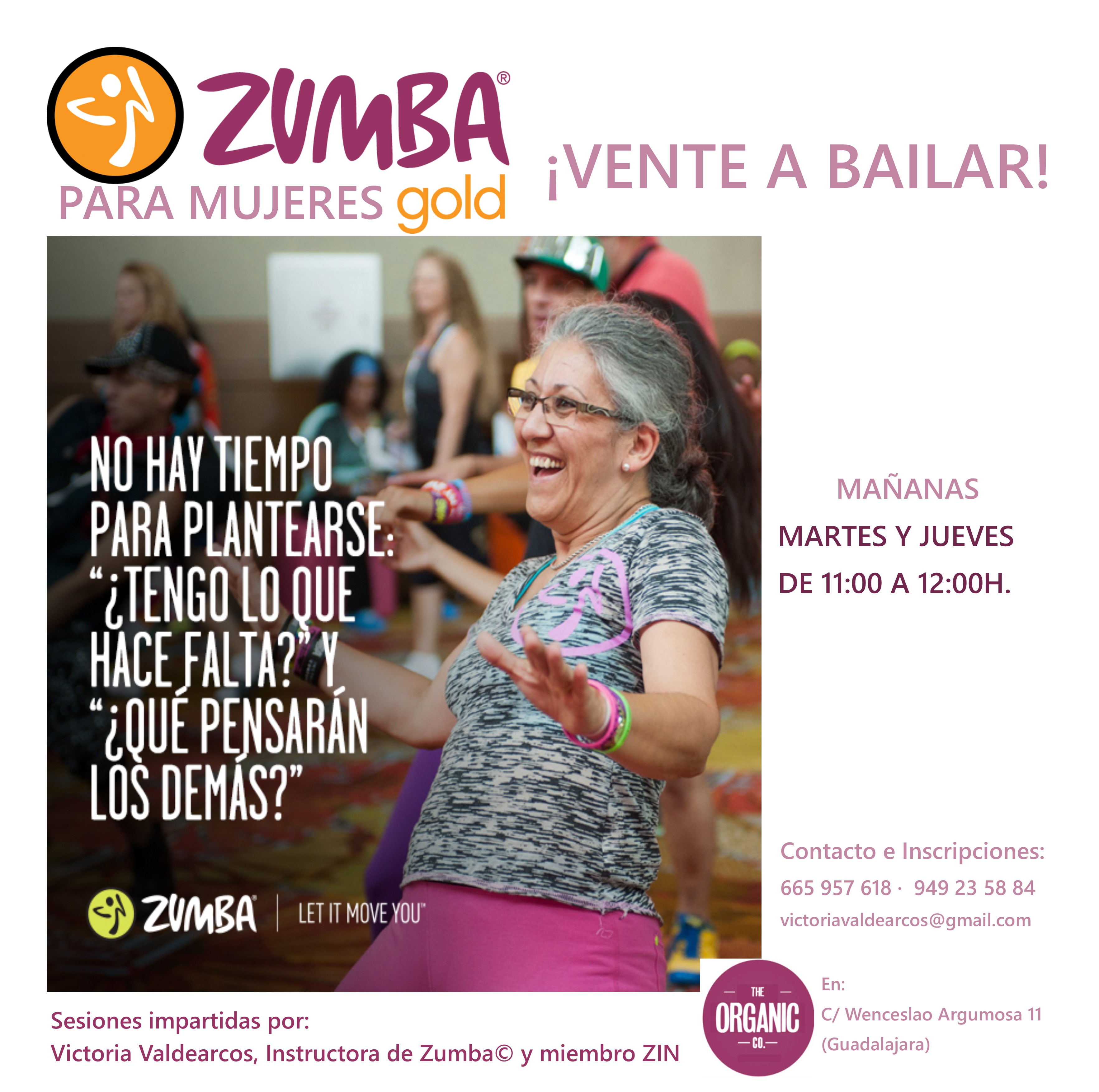 ZUMBA para mayores. MAÑANAS THE ORGANIC (Guadalajara)